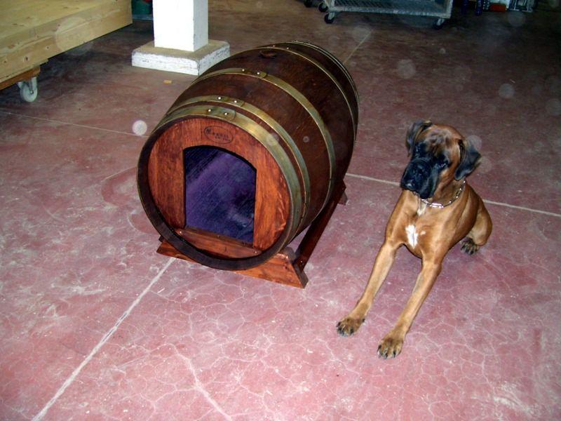 Originale cuccia per cani realizzata da Briganti srl da botte in legno usata - Smart dog house made by Briganti srl with a used wood barrel. Tel.+39 0547 310171