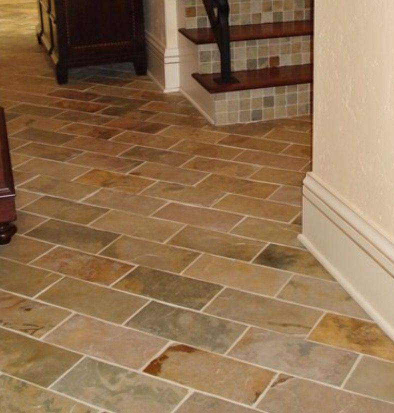 Rectangular Slate Tile Floor On A Diagonal Herringbone Pattern