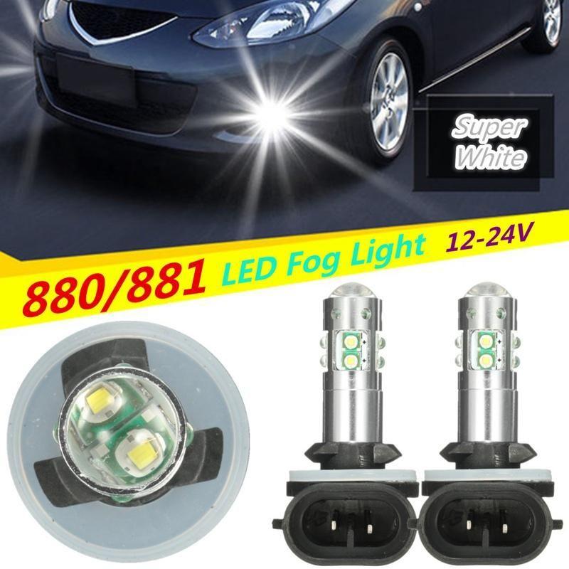 1 Pair Universal 12 24v 886 889 894 50w Led Fog Daytime Running Light Bulb Headlight Bulbs White Drl Driving Light Car Led 19 99 With Images Headlight Bulbs