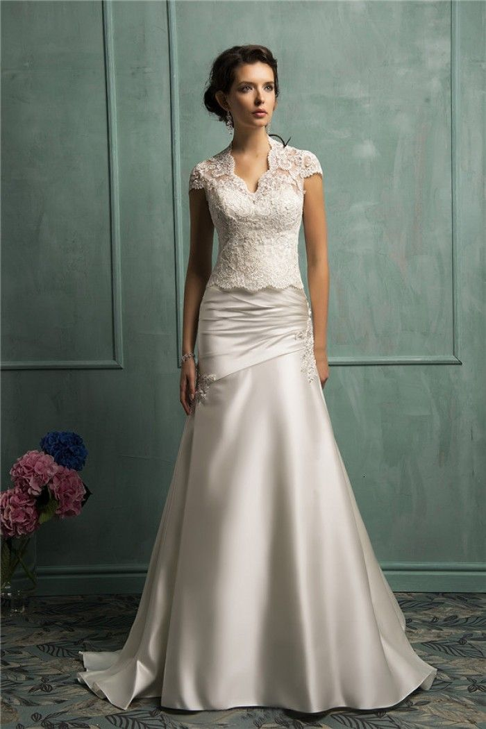 Best Trumpet Mermaid Strapless Ruched Satin Wedding Dress With Lace Jacket