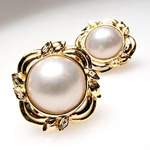 Vintage Estate Mabe Pearl & Diamond Earrings Solid 18K Gold