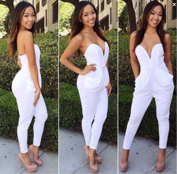 Free shipping deep v neck white Rompers celebrities strapless ...