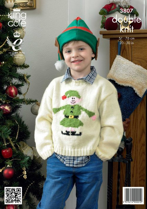 King Cole 3807 Baby//Child/'s Christmas Sweaters Knitting Pattern Sizes 20-30/""
