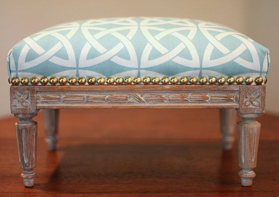 French Louis Xvi Footstool Whitewash Distressed Stool Turquoise Blue Trellis Fabric Antique 1800 S 19th Century Vintage Turquoise Fabric Upholstery Footstool Vintage Stool