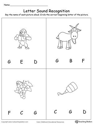 Recognize The Sound Of The Letter G Preschool Worksheets Alphabet Preschool Phonics Kindergarten