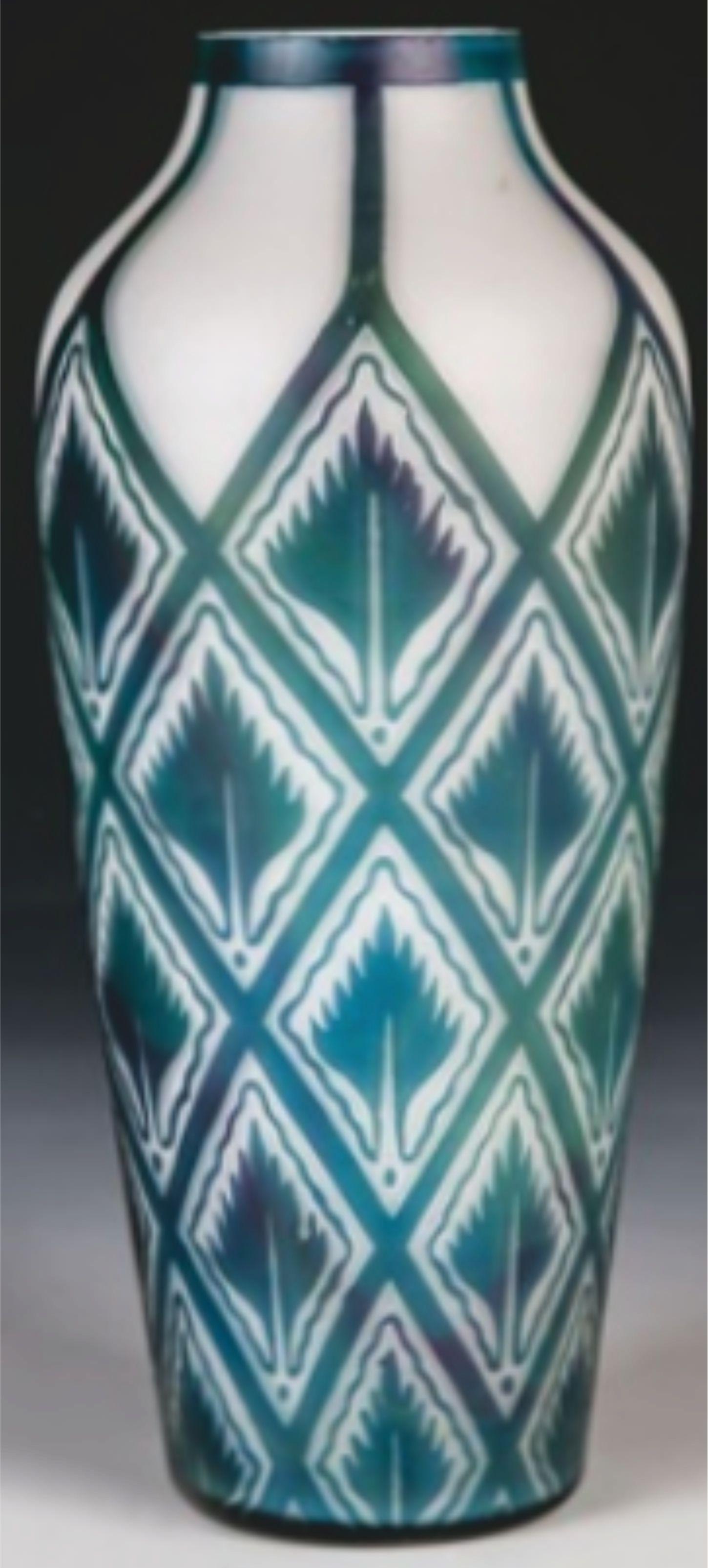 Künstler Beckmann Weis Titel Vase Medium Glass Größe 26 Cm 10 2 In Art Nouveau Pottery Art Deco