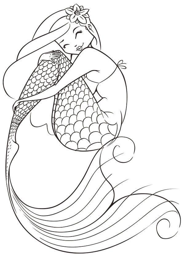 Mermaid Coloring Page Buzzle Com Printable Templates Mermaid
