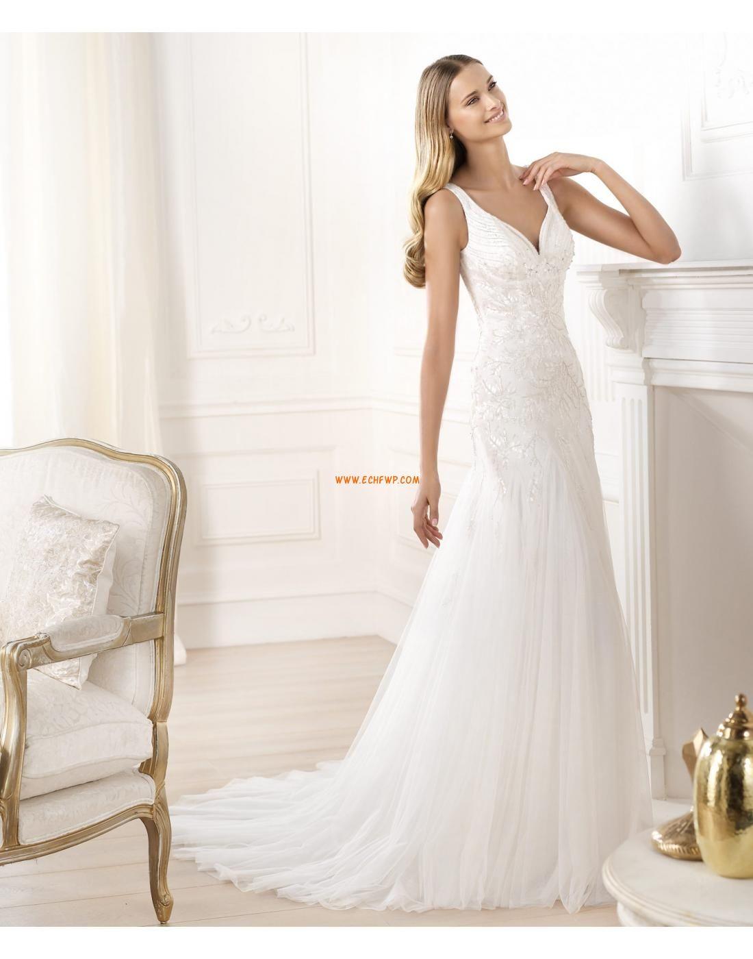 A-Linie Hof-Schleppe Applikation Brautkleider 2014 | short wedding ...