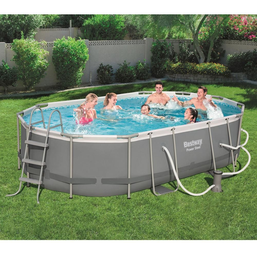 Bestway Bestway Power Steel 16 Ft X 10 Ft Metal Above Ground Swimming Pool Set With Pump 56655e Bw The Home Depot Above Ground Swimming Pools Swimming Pools Oval Pool