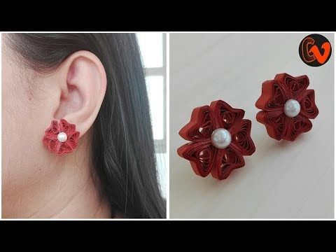 How to make Quilling Stud Earrings / Quilling Jewellery Making - YouTube