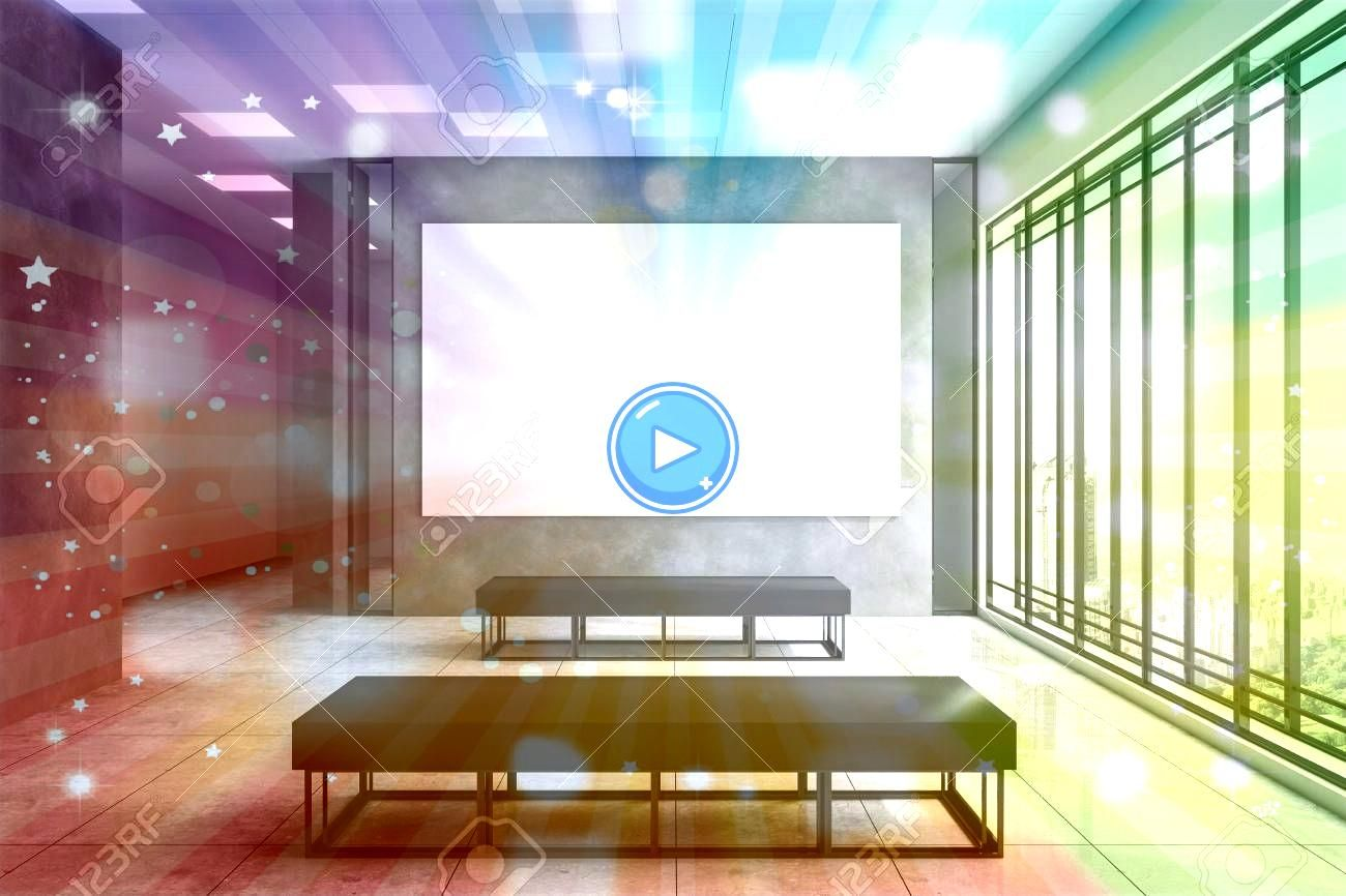 exhibition hall interior with empty white banner on concrete wall city view and daylight Gallery concept Mock up 3D Rendering Clean exhibition hall interior with empty wh...