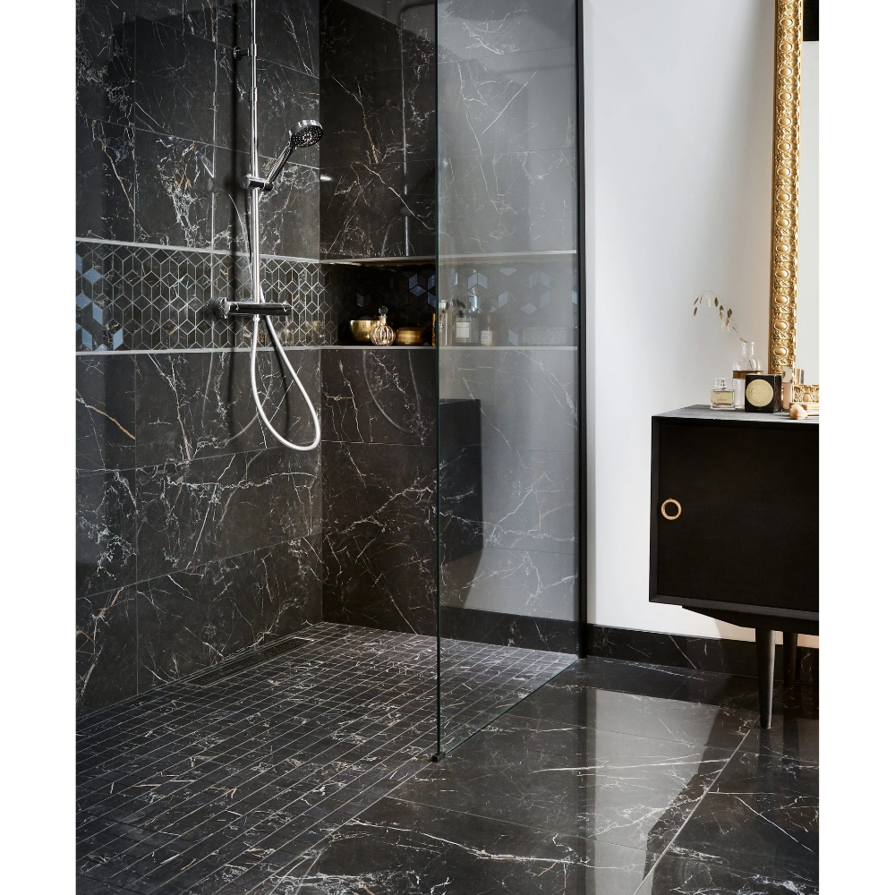 Carrelage Mur Marbre Noir Gold Brillante L 30 5 X L 91 5 Cm