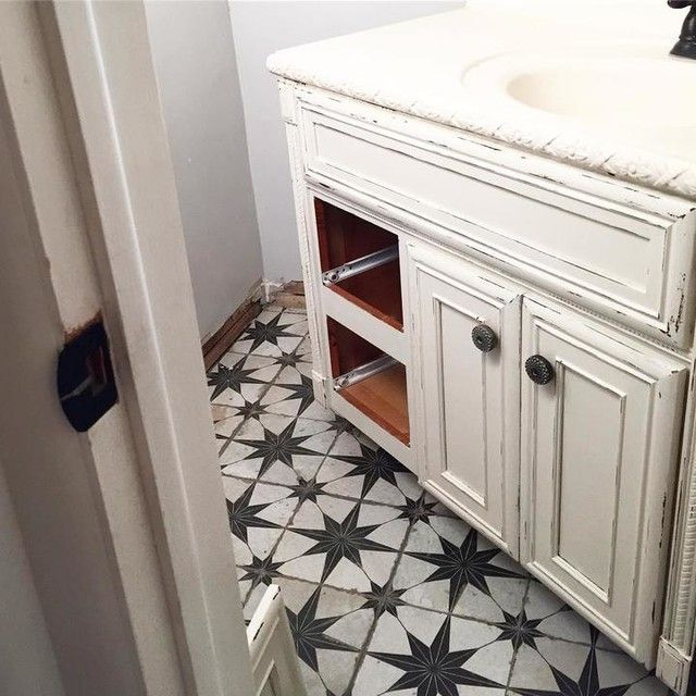 Vintage Look Bathroom Floor Tile Star Ceramic Wall And