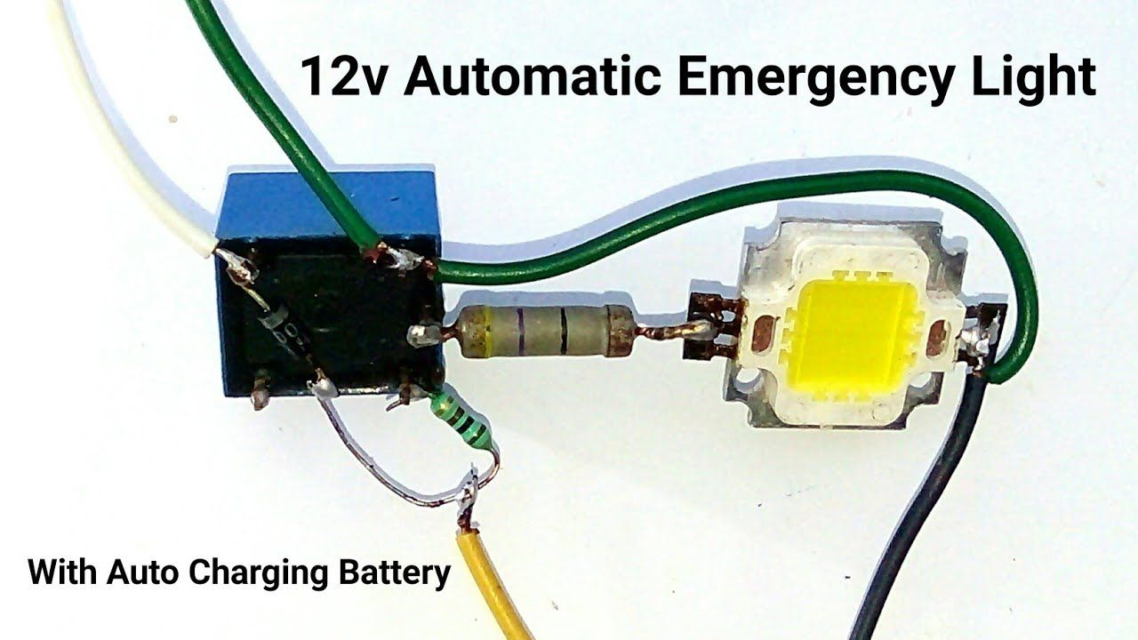 Make A 12v Automatic Emergency Light Circuit With Auto Battery Charging System  Or Relay Switch