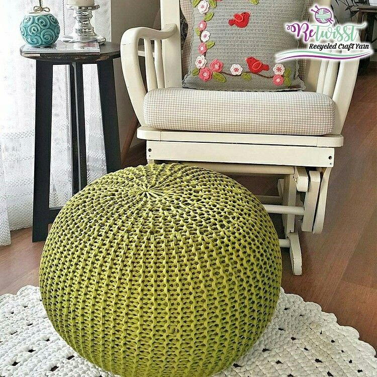 Decorate Your Home With A Knitted Pouf Retwisst Tshirtyarn
