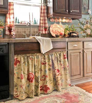 farmhouse sink and skirt | country farmhouse decor | pinterest
