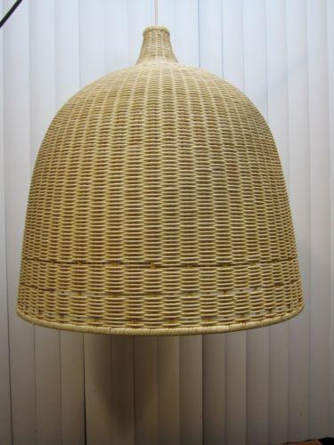 Large 24 Wicker Basket Pendant Light Fixture Hanging Ikea Modern