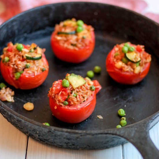 Stuffed Tomatoes are a delicious way to incorporate nourishing pink rice and sautéed vegetables into a hearty, warming meal.  Enjoy!