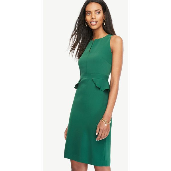 2da0e522adc2 Ann Taylor Peplum Sheath Dress ($120) ❤ liked on Polyvore featuring dresses,  green eden, petite cocktail dress, peplum sheath dress, ann taylor cocktail  ...