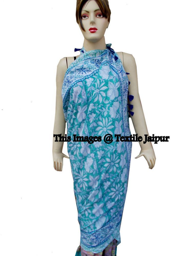 ff9ac77278377 Pareos Sarong With Tassle Sexy Cover up Beach Wear Hand Block Print 100%  Cotton #Handmade #CoverUp