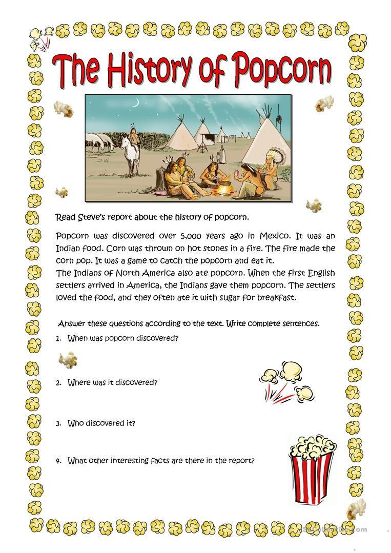 THE HISTORY OF POPCORN worksheet - Free ESL printable worksheets ...