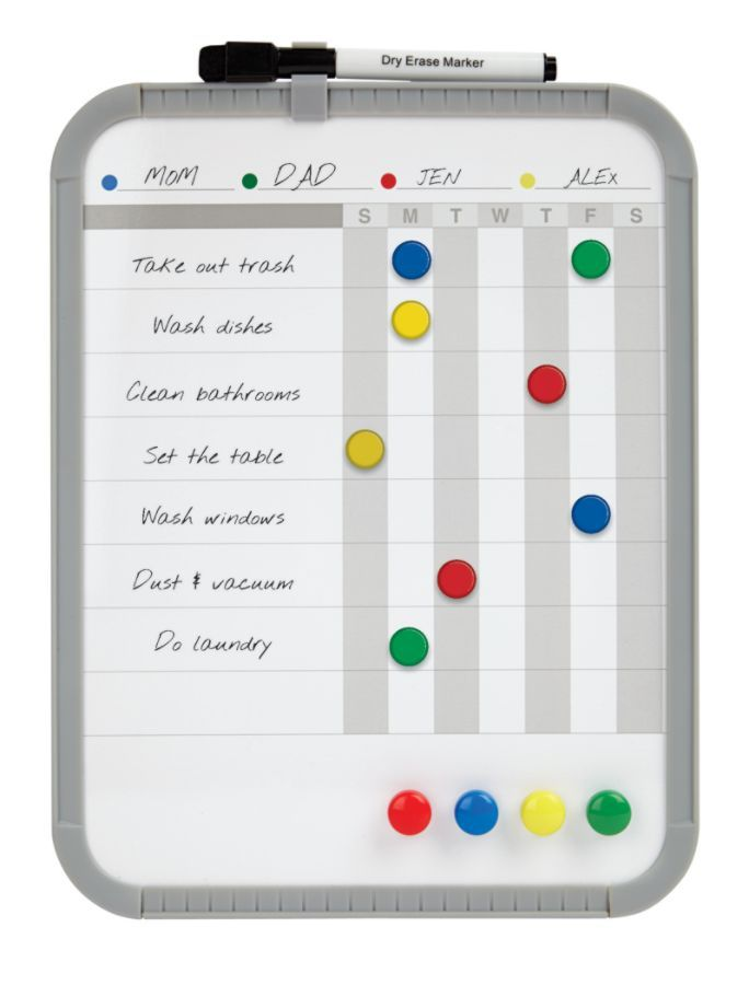 I.e. Chore Chart Magnetic Dry Erase White Board Covered Steel 8 12 X 11  Gray Plastic Frame By Office Depot U0026 OfficeMax