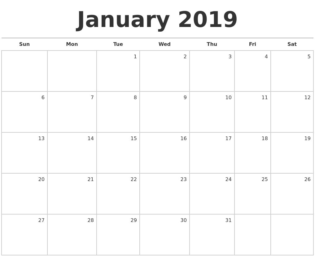January 2019 Calendar Month January 2019 Calendar Month | January Month | 2019 calendar, Blank