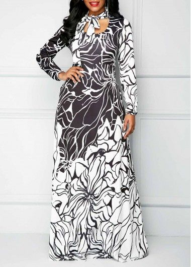 Printed Long Sleeve Pocket Tie Neck Maxi Dress on sale only US 37.26 ... c4bcf3394