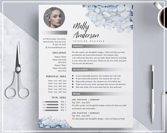 Blue Hydrangea Flower Floral Resume Template, Creative CV Design - resume template creative