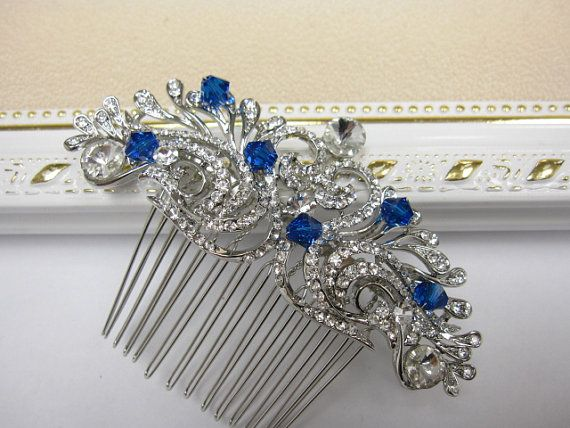 Items similar to Bridal hair comb blue,Crystal hair comb,Wedding hair comb blue,Rhinestone hair comb,Wedding hair accessories,Wedding headpiece,Bridal comb on Etsy #weddinghairjewelry