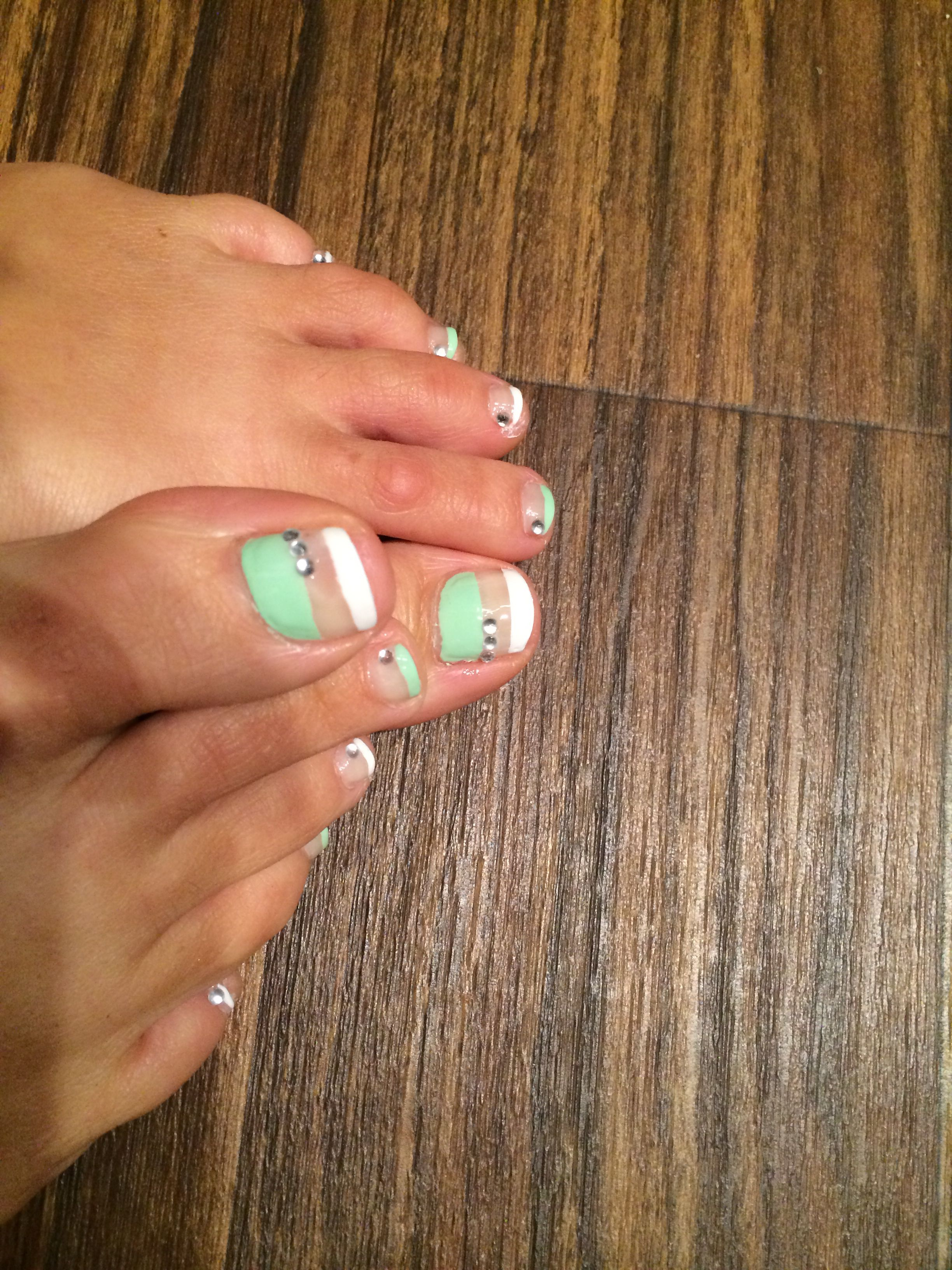 Mint,white, nude and some bling summer toe nails ~DIY | Toe Nails ...