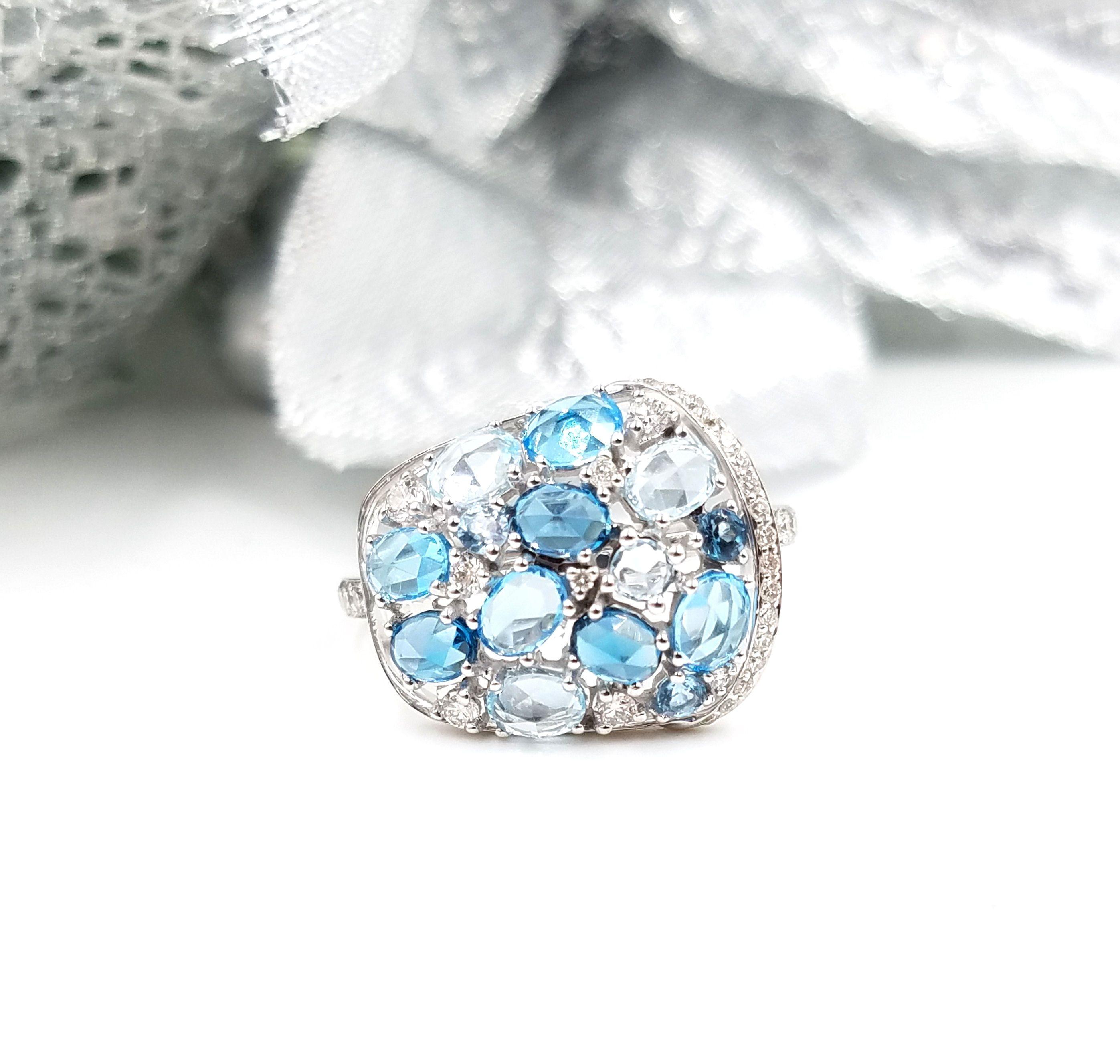 Beautiful blue topaz sky blu topaz and london blue topaz ring with