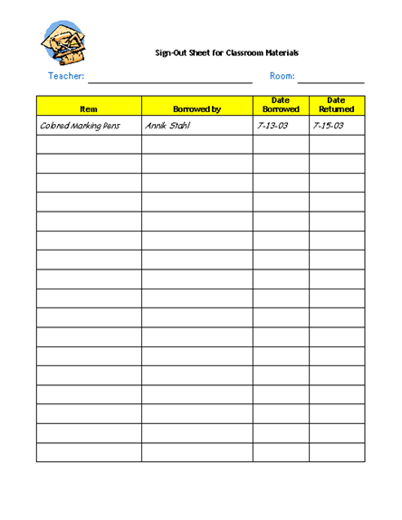 Supplies sign out sheet Teaching Art Pinterest – Sign in Sheet for Doctors Office Templates