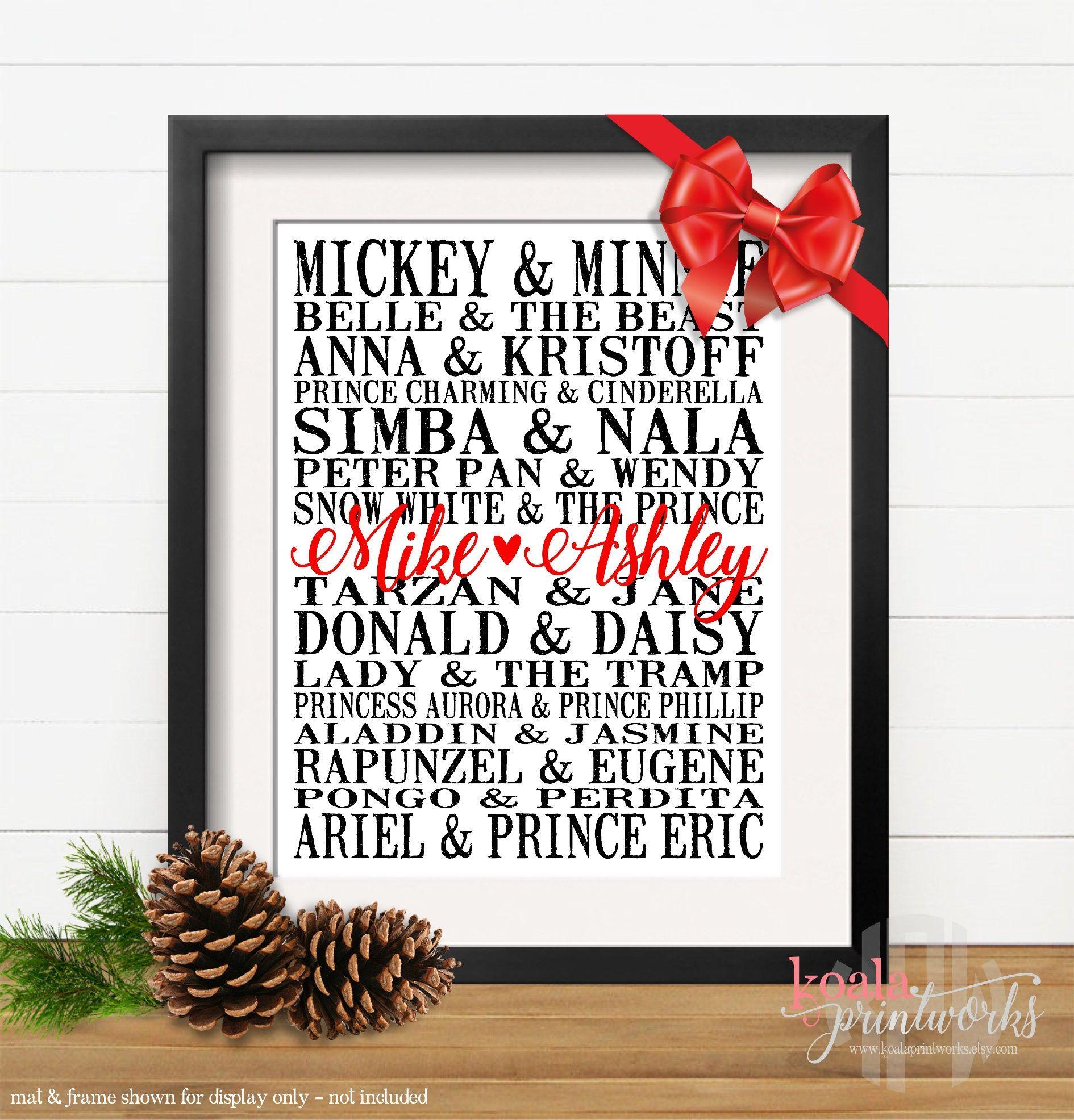 Personalized Disney Couples Art Print, Wedding Gift, Anniversary ...