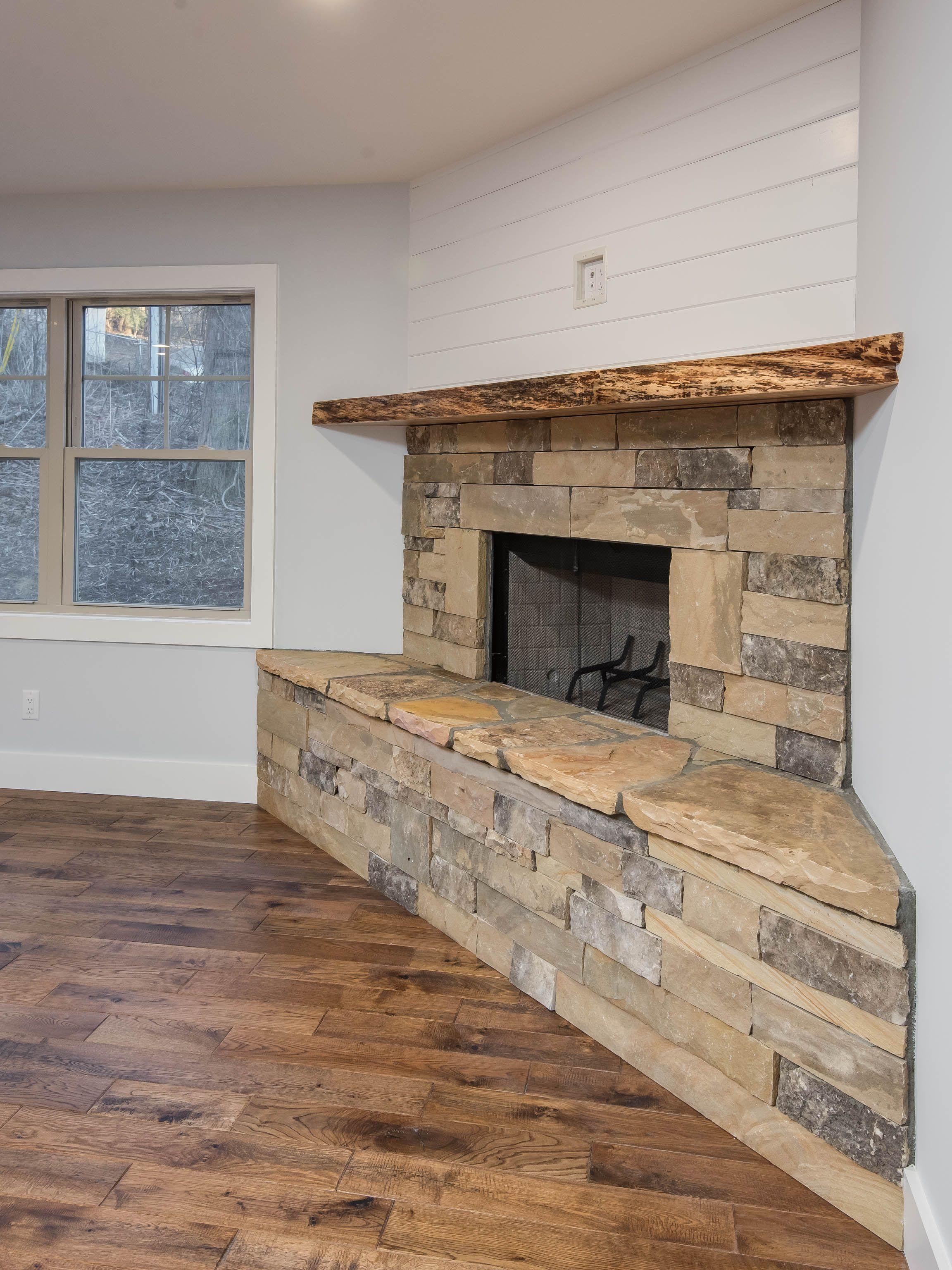 Stone And Shiplap With A Live Edge Mantel Custom Homes Custom