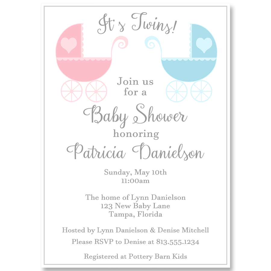 Lovely Carriages Twins Baby Shower Invitation Crafts