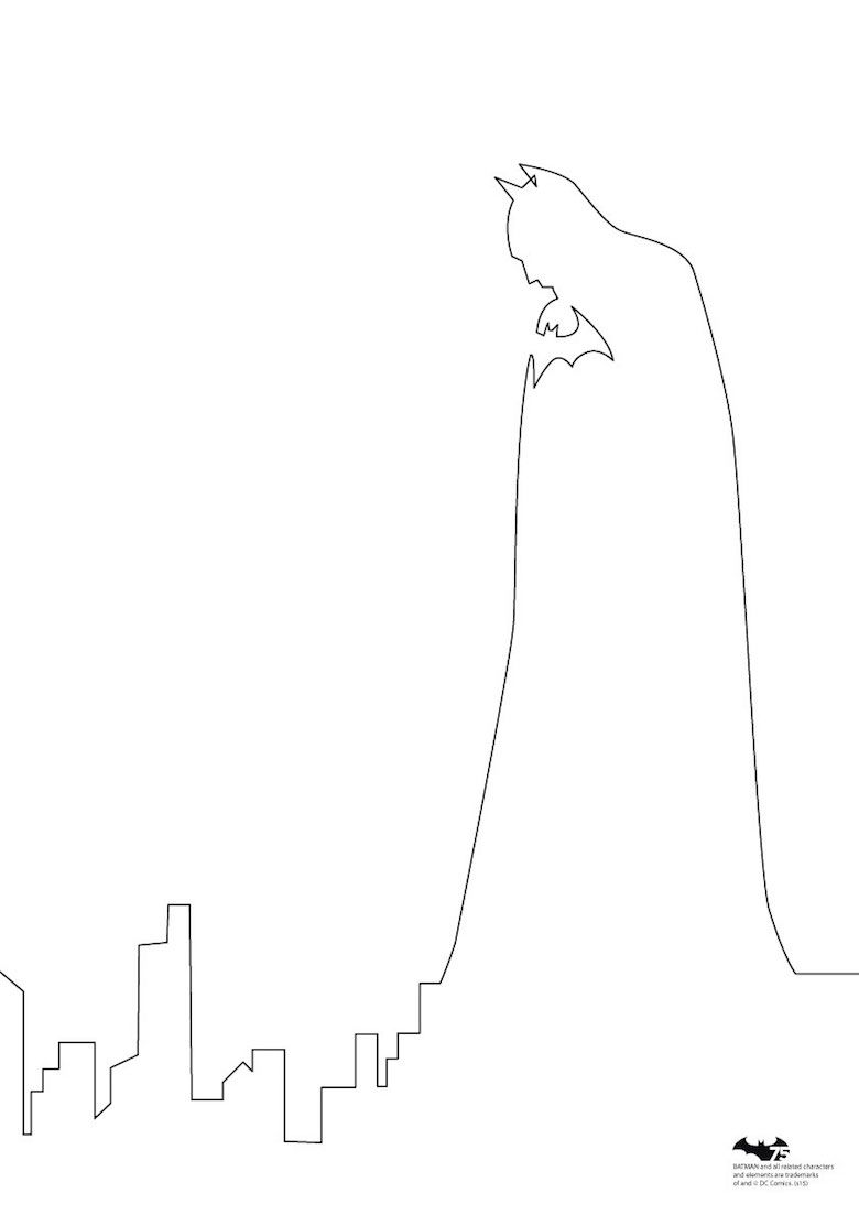 quibe one line minimal illustrations batman [ 780 x 1103 Pixel ]