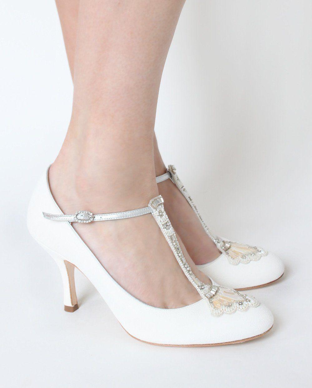 dae8d51ef Eva - Bridal Shoe - Ivory Kid Suede - Mid Heel - Court Shoe - Mother ...