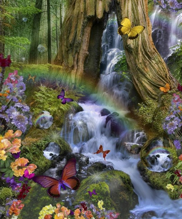 Fairy land images woodland forest fairyland wall mural for Fairy garden wall mural