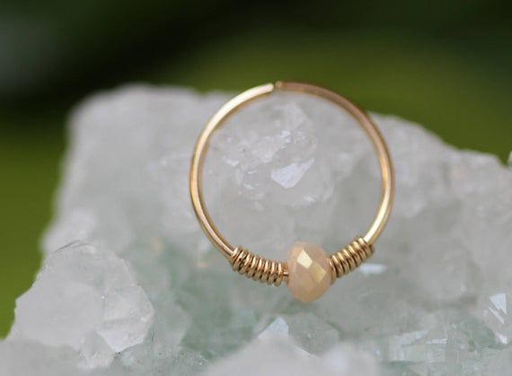 24G Nose piercing,Jade nose Hoop,nose ring piercing,gold nose ring,nose ring jewelry,tiny Pearl nose ring,thin nose ring,hoop nose ring #nosering