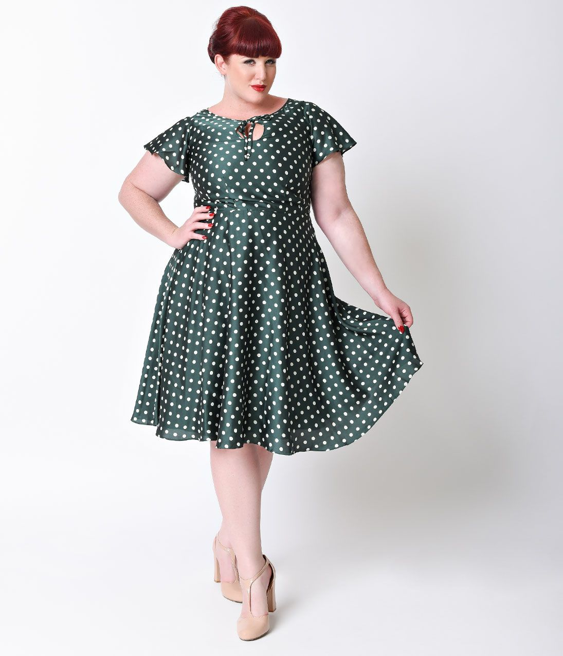 Vintage style dresses 30s 40s 50s and 60s 1940s 40s dress and unique vintage plus size style emerald ivory polka dot formosa swing dress ombrellifo Gallery