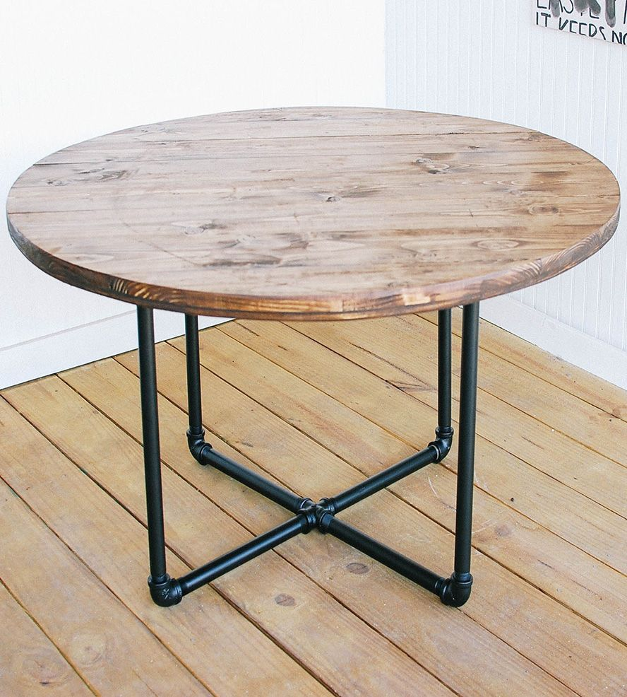 Reclaimed Wood Round Coffee Table With Pipe Base By