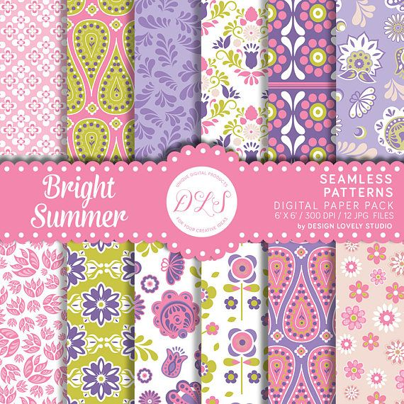 Bright Floral Digital Paper Colorful Floral Patterns Flower Etsy In 2020 Digital Paper Planner Decorating Free Planner Stickers