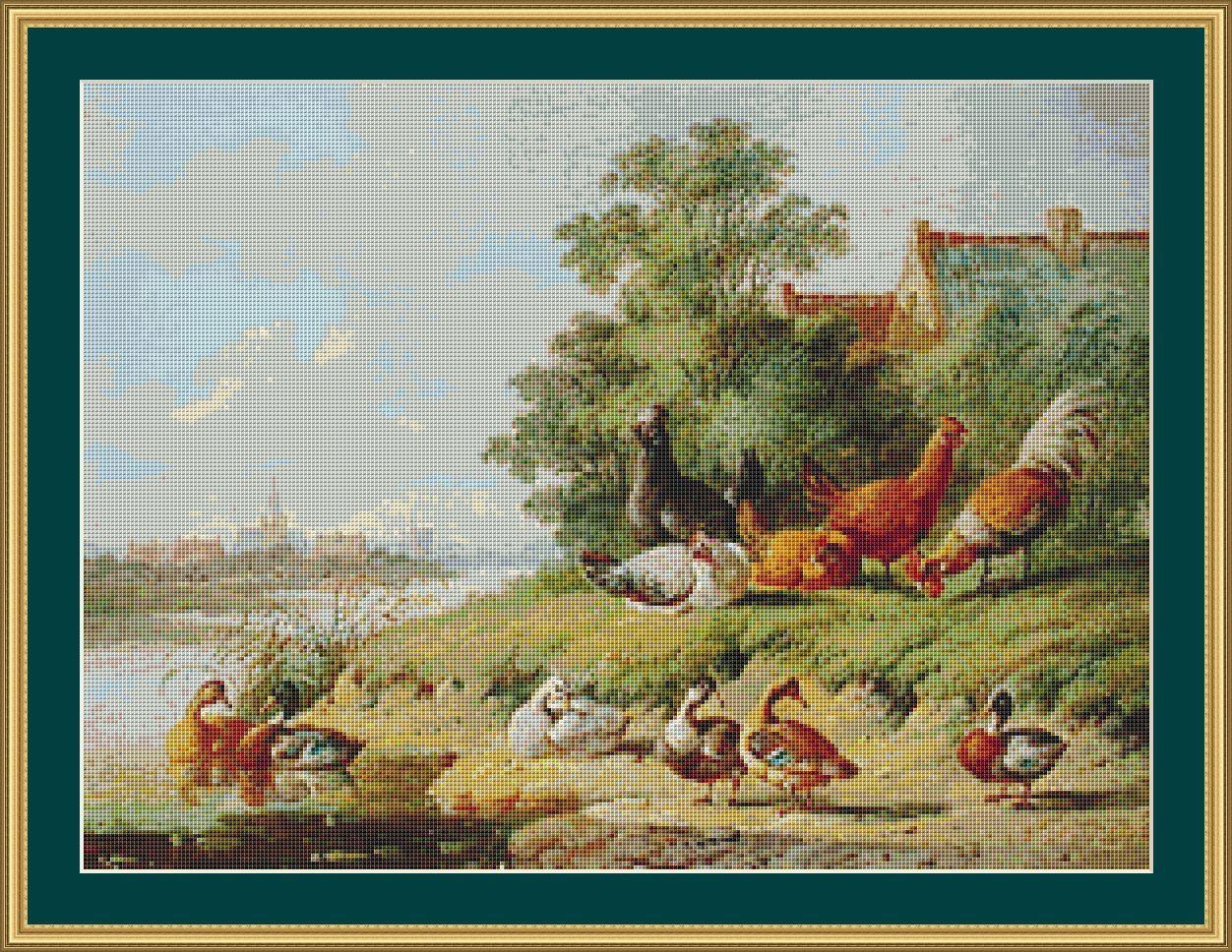 A cross stitch pattern of ducks and chickens on a riverbank in a painting by Albertus Verhoesen. $6.00
