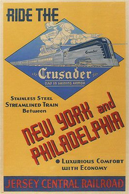 RIDE THE CRUSADER vintage train poster UNITED STATES 1943 24X36 collectors