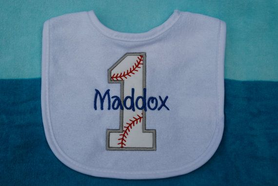 First Birthday Baby Bib Baseball Bib Custom by LittleHawkBoutique, $12.00