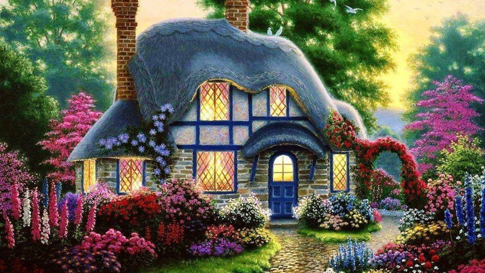 Cottage Flowers Splendor House Umeni Priroda Krajina Zapad Slunce