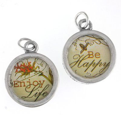 Funky Photo Pewter Charms Enjoy/Be Happy