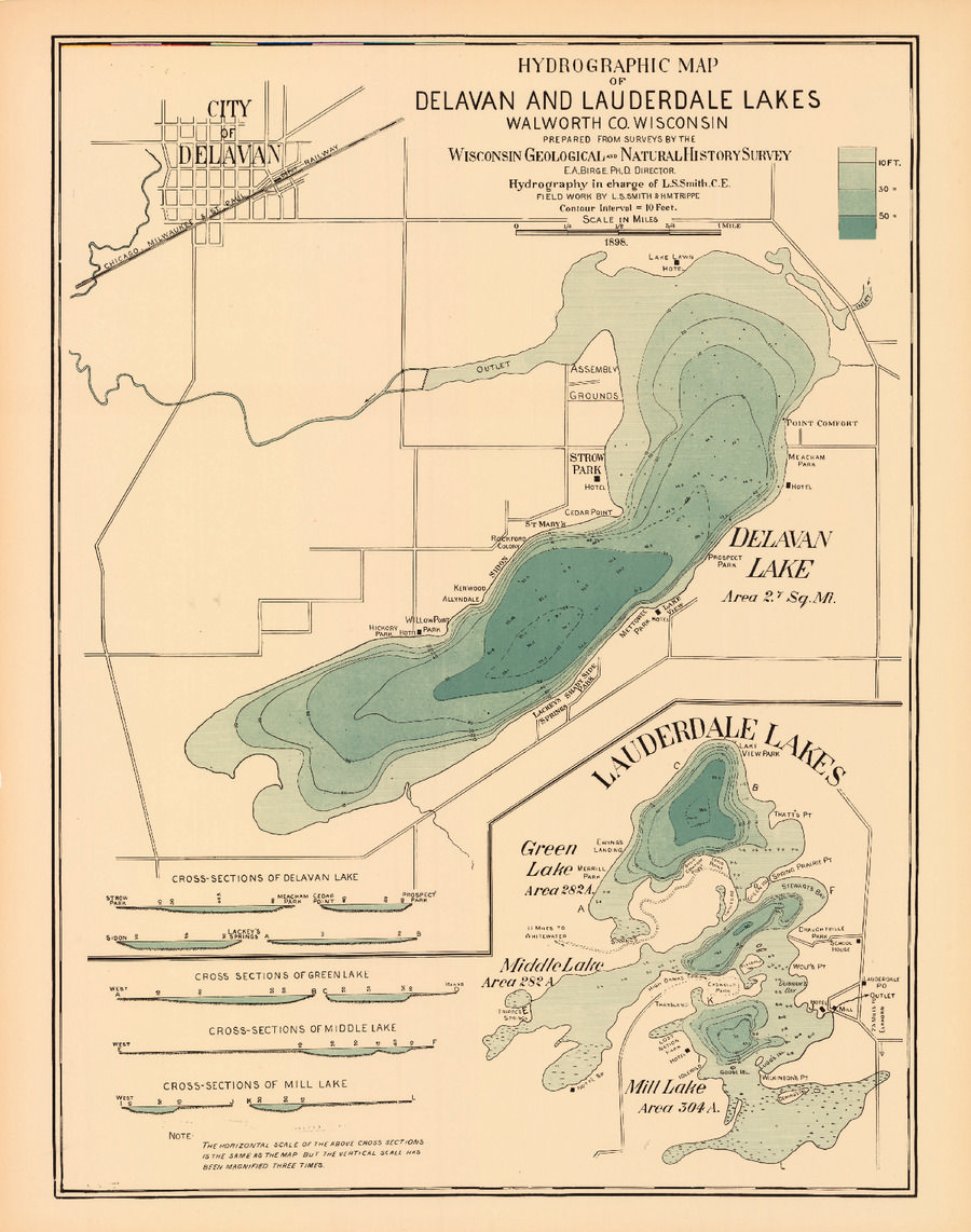 Hydrographic Map of Delavan and Lauderdale Lakes, Walworth County ...