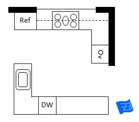 Open plan double L shaped kitchen layout Right door leads living
